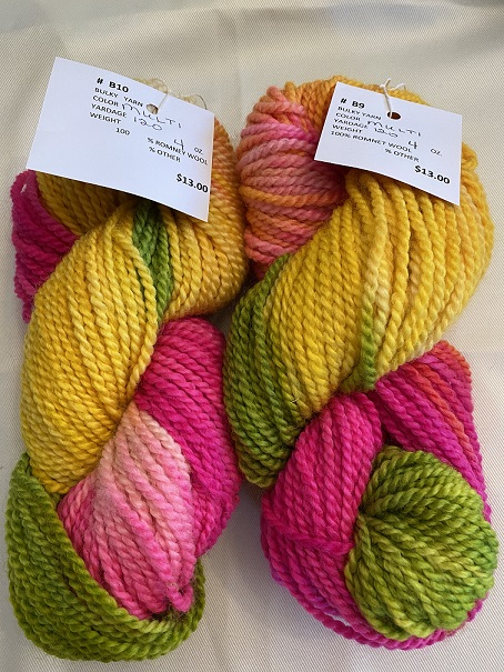 BULKY WEIGHT YARN-BRIGHT PINK/YELLOW/GREEN