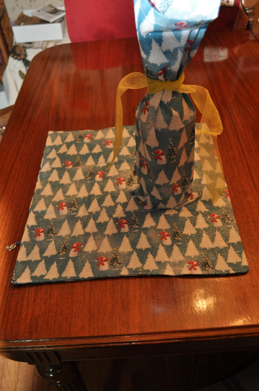 REUSABLE CLOTH GIFT BAGS-GLITTERLY TREES