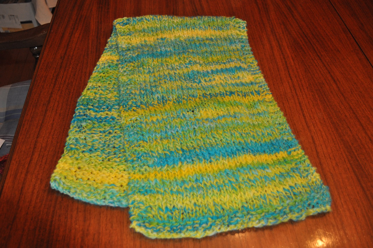 YELLOW/BLUE WOOL SCARF
