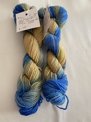 FINGERING WEIGHT YARN-BLUE/GOLD