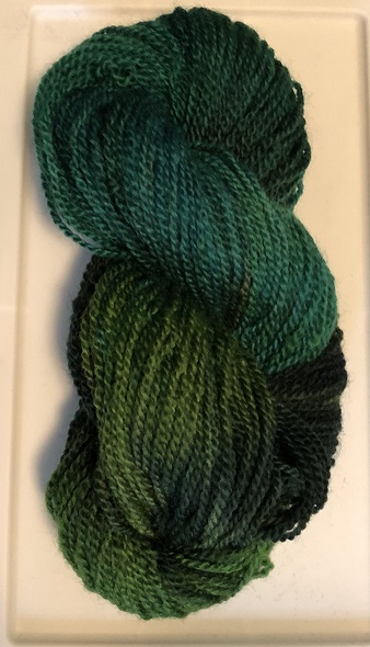 WORSTED WEIGHT YARN-TEAL WITH MULTI GREEN
