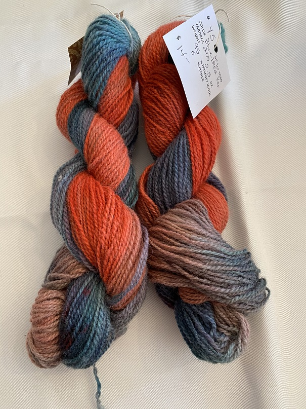 WORSTED WEIGHT YARN-BLUE/RED VARIEGATED