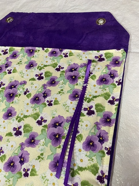 PROJECT BAG-PANSIES WITH RIBBON TIES