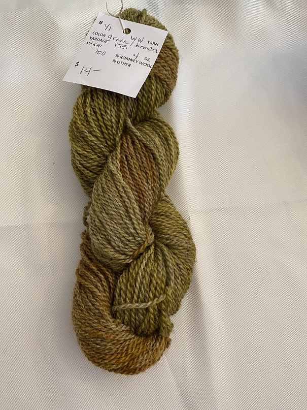WORSTED WEIGHT YARN-GREEN/BROWN