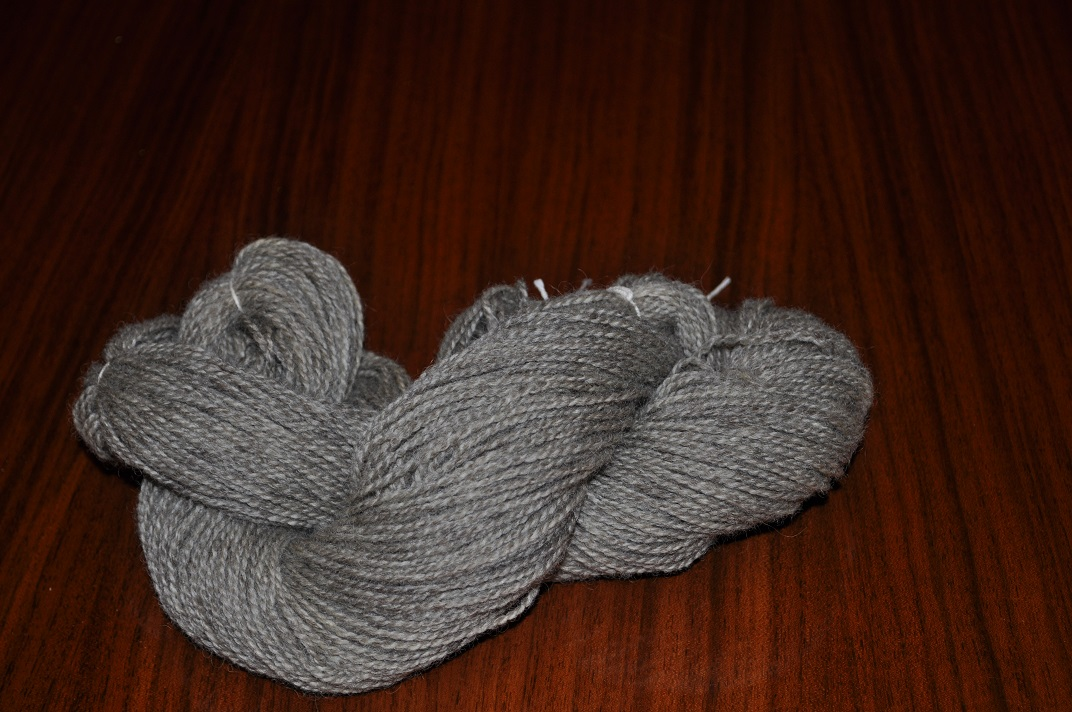 Sport weight med gray wool yarn, 200 yd skein